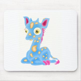 Blue baby giraffe mouse pad