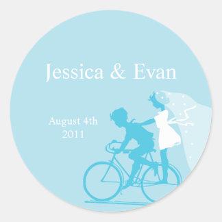 Blue Bicycle Couple Wedding Sticker