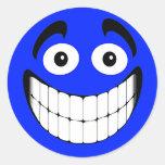 Blue Big Grin Smiley Face Round Sticker
