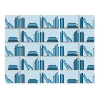 Blue Books on Shelf. Postcard