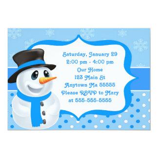 Blue Boy Snowman Birthday Invitation