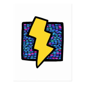 Blue Bricks Lightning Bolt Postcard