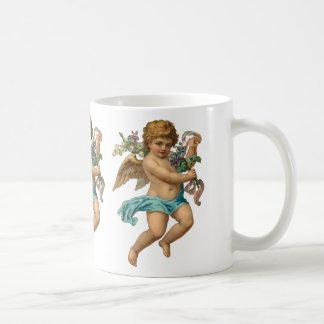"""Blue Cherub"" Vintage Basic White Mug"