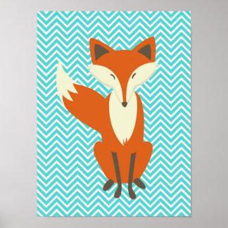 Blue Chevron Sly Fox Nursery Art Poster