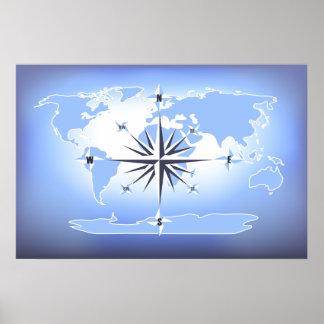 Blue Compass Rose World Map Print Poster