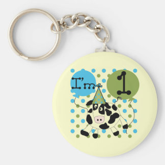 Blue Cow 1st Birthday Tshirts and Gifts Basic Round Button Key Ring