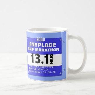 Blue Custom Anyplace Half Marathon, 13.1 Miles Basic White Mug