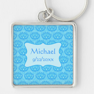 Blue Damask Baby Boy Name Personalized Silver-Colored Square Key Ring