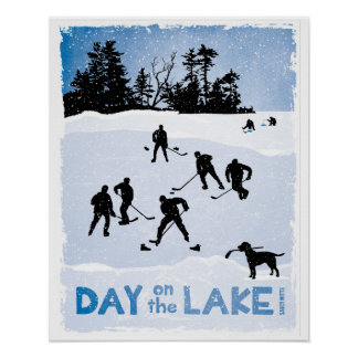 Blue Day on the Lake Pond Hockey Poster