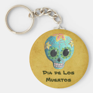 Blue Dia de Los Muertos Art Sugar Skull Basic Round Button Key Ring