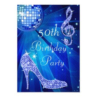 Blue Disco Ball and Heels 50th Birthday 13 Cm X 18 Cm Invitation Card