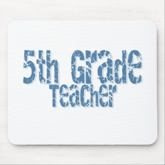 Blue Distressed Text 5th Grade Teacher Mouse Pad