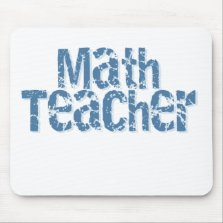 Blue Distressed Text Math Teacher Mouse Pad