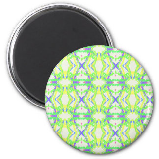 Blue DNA shape With Green Yellow Tribal Pattern 6 Cm Round Magnet