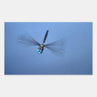 Blue Dragonfly in Flight Rectangular Sticker