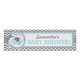 Blue Elephant Bowtie Chevron Baby Shower Banner Poster