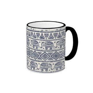 Blue Ethnic Elephant Pattern Ringer Mug