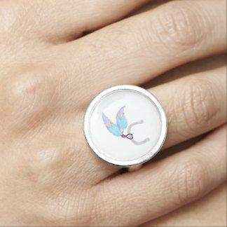 Blue feathers horseshoe Round Ring