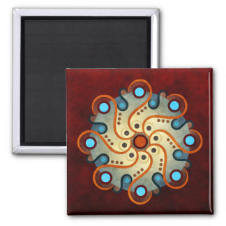 Blue Floral Abstract Vector Art Square Magnet