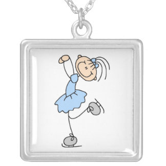Blue Girl Figure Skater T-shirts and Gifts Square Pendant Necklace