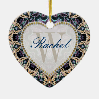 Blue Gold Batik Monogram Love Heart Ornament