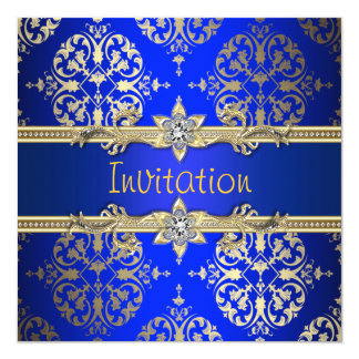 Blue Gold Damask Royal Blue Party 13 Cm X 13 Cm Square Invitation Card