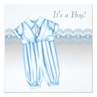 Blue Gray Romper Booties Baby Boy Shower 13 Cm X 13 Cm Square Invitation Card