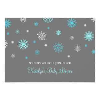 Blue Gray Snow Christmas Custom Baby Shower 13 Cm X 18 Cm Invitation Card