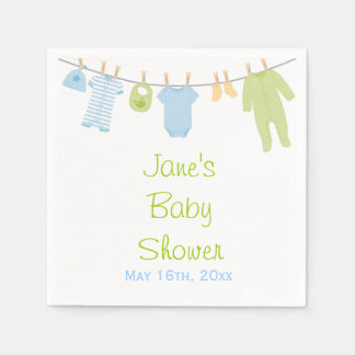 Blue & Green Little Clothes Baby Shower Napkins Disposable Napkin