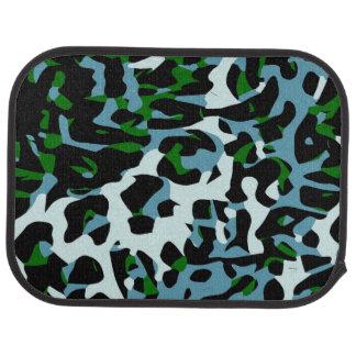 Blue Green White Cheetah Abstract Car Mat