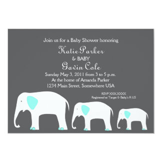 Blue & Grey Mother and Baby Elephant Invitation