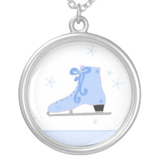 Blue Ice Skate Round Pendant Necklace
