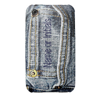 Blue Jean Denim Pocket - Add your name or initials iPhone 3 Case-Mate Cases