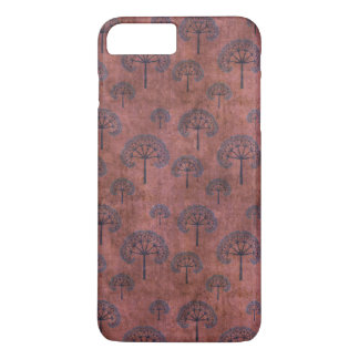 Blue Lacy Trees on Grunge Red iPhone 7 Plus Case