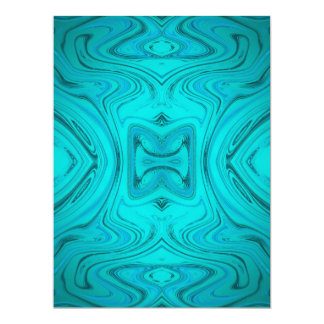 blue,modern curved pattern with different fractal 17 cm x 22 cm invitation card