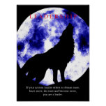 Blue Moon Motivational Leadership Wolf Poster