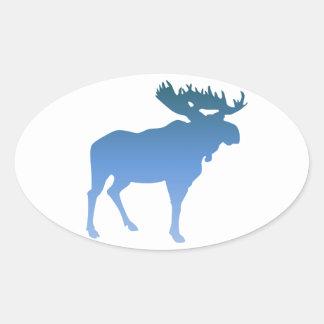 Blue Moose Oval Sticker