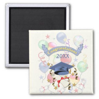 Blue Mortar and Diploma Graduation Square Magnet