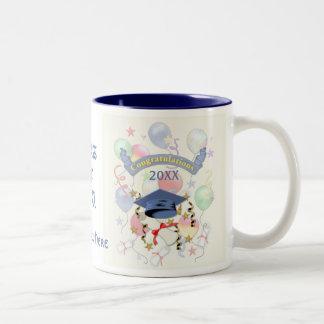 Blue Mortar and Diploma Graduation Two-Tone Mug