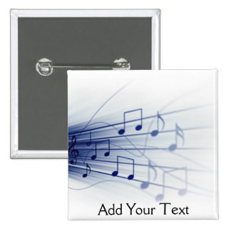 Blue Music Explosion on White 15 Cm Square Badge