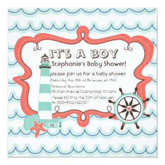 Blue Nautical It's a Boy Baby Shower Invitation