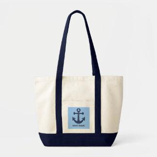 Blue Nautical Ship Anchor Custom Boat Name Impulse Tote Bag