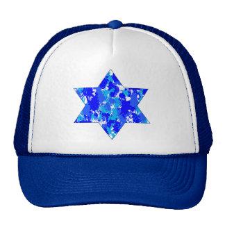 Blue Paint Splatter Jewish Star Cap