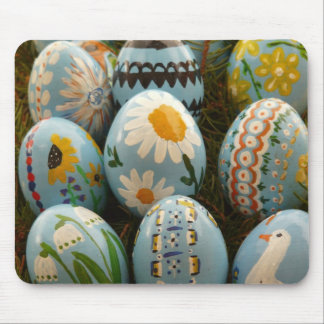 Blue Painted Easter Eggs Mouse Pad