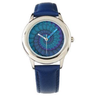 Blue Peacock Fractal Pattern Wristwatches