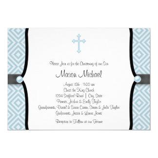 Blue Pearl Cross Black Blue Christening 13 Cm X 18 Cm Invitation Card