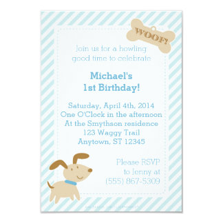 Blue Puppy Dog Invitation with Stripes and Dots