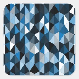 blue pyramid pattern 07 square sticker