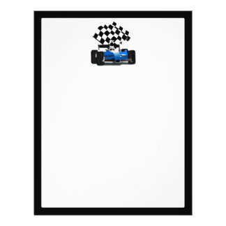Blue Race Car with Checkered Flag 21.5 Cm X 28 Cm Flyer