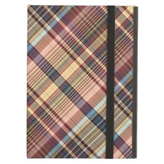 Blue red cream plaid cover for iPad air